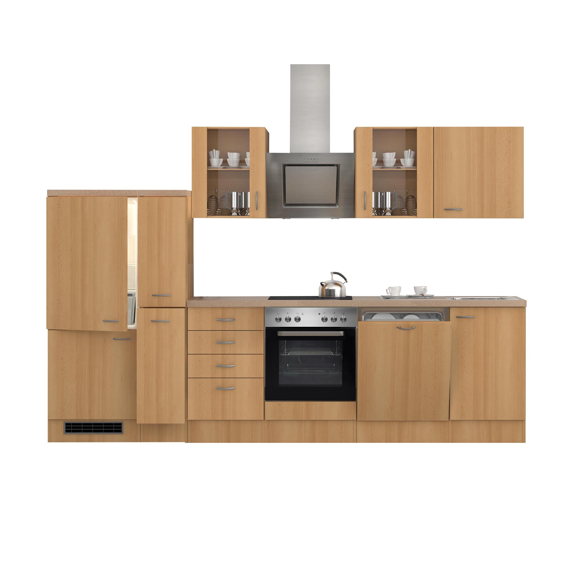 k chenzeile nano e ger te 2 glash nger 15 teilig breite 310 cm buche k che k chenzeilen. Black Bedroom Furniture Sets. Home Design Ideas
