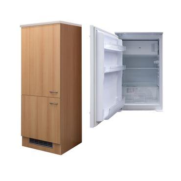 Kühlschrankumbauschrank NANO - inkl. Einbaukühlschrank - 161 cm hoch - Buche