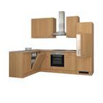 Eckküche NANO - Küche mit E-Geräten - Breite 280 x 170 cm - Buche