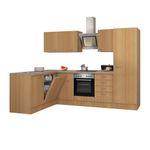 Eckküche NANO - Küche mit E-Geräten - Breite 270 x 170 cm - Buche