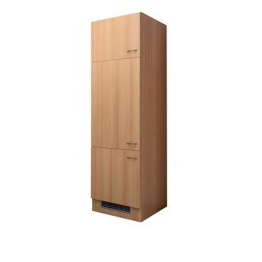 Kühlschrankumbauschrank NANO - 3-türig - 60 cm breit - Buche