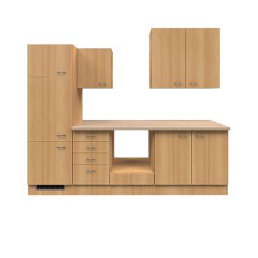 Küchenzeile NANO - Leerblock mit Auszugschrank - Breite 270 cm - Buche