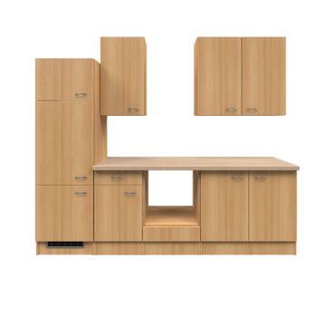 Küchenzeile NANO - Küchen-Leerblock - Breite 270 cm - Buche