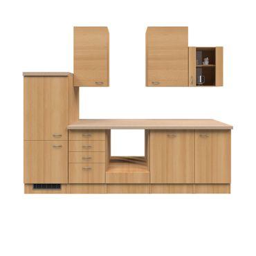 Küchenzeile NANO - Leerblock mit Midi-Umbauschrank - Breite 280 cm - Buche