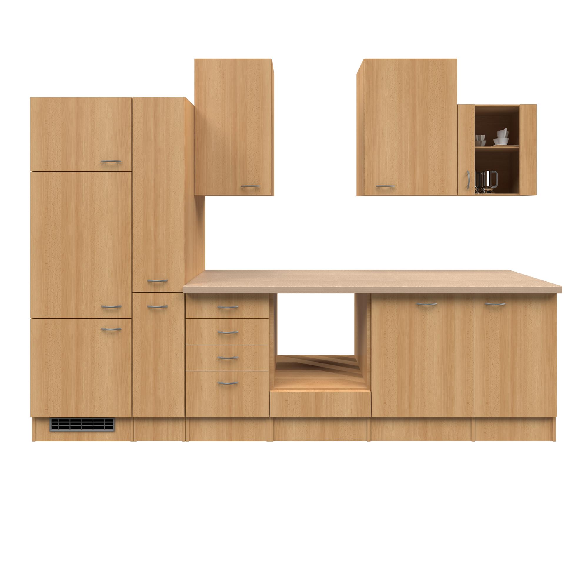 k chenzeile nano k chen leerblock mit glash ngeschrank breite 310 cm buche k che k chenzeilen. Black Bedroom Furniture Sets. Home Design Ideas