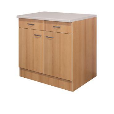 Küchen-Unterschrank NANO - 2-türig - 100 cm breit - Buche