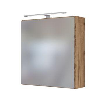 Bad-Spiegelschrank DAVOS - 1-türig, mit Beleuchtung - 60 cm breit - Wotan Eiche