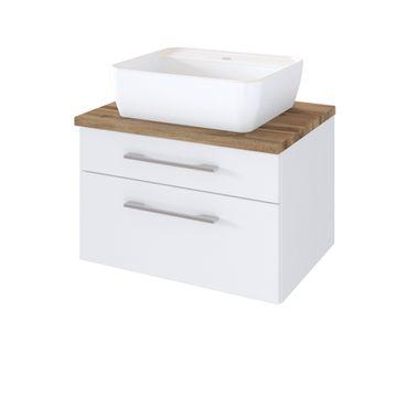 Bad-Waschtisch DAVOS - 60 cm breit - Weiß Matt / Wotan Eiche