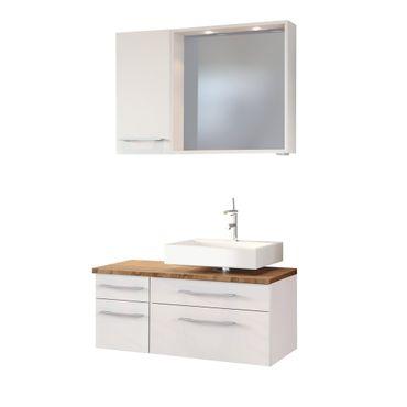Badmöbel-Set DAVOS - Vario D - für Waschbecken rechts - Weiß Matt / Wotan Eiche