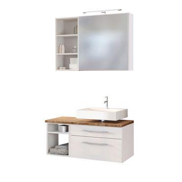 Badmöbel-Set DAVOS - Vario E - für Waschbecken rechts - Weiß Matt / Wotan Eiche
