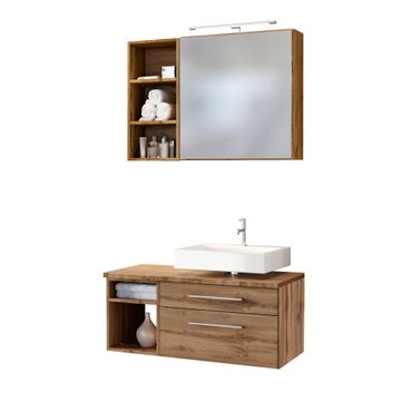 Badmöbel-Set DAVOS - Vario E - für Waschbecken rechts - Wotan Eiche