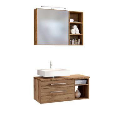 Badmöbel-Set DAVOS - Vario E - für Waschbecken links - Wotan Eiche