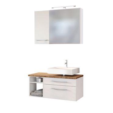 Badmöbel-Set DAVOS - Vario F - für Waschbecken rechts - Weiß Matt / Wotan Eiche