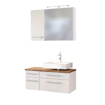 Badmöbel-Set DAVOS - Vario H - für Waschbecken rechts - Weiß Matt / Wotan Eiche