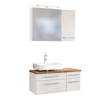 Badmöbel-Set DAVOS - Vario H - für Waschbecken links - Weiß Matt / Wotan Eiche