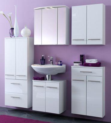 Badmöbel-Set SMALL - 5-teilig - 150 cm breit - Hochglanz Weiß