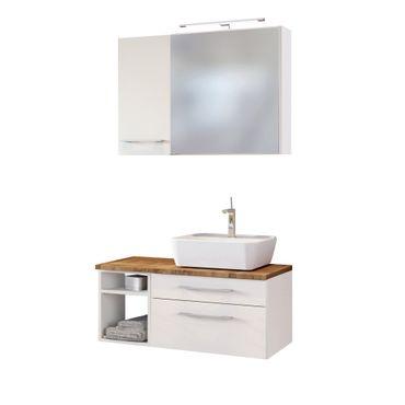 Badmöbel-Set DAVOS - Vario F - mit Waschbecken rechts - Weiß Matt / Wotan Eiche