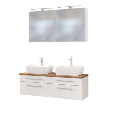 Badmöbel-Set DAVOS - mit 2 Spiegelschränken - 7-teilig - Weiß Matt / Wotan Eiche