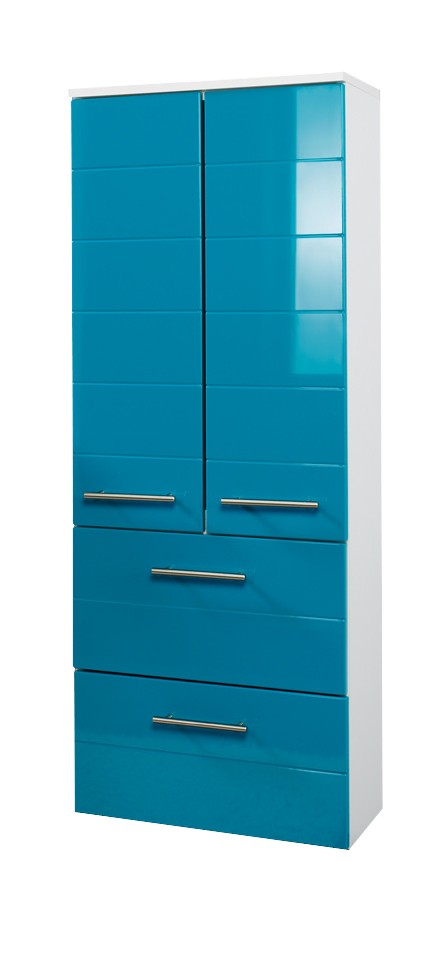 bad midischrank rimini 2 t rig 2 schubladen 50 cm breit hochglanz t rkis bad bad midischr nke. Black Bedroom Furniture Sets. Home Design Ideas