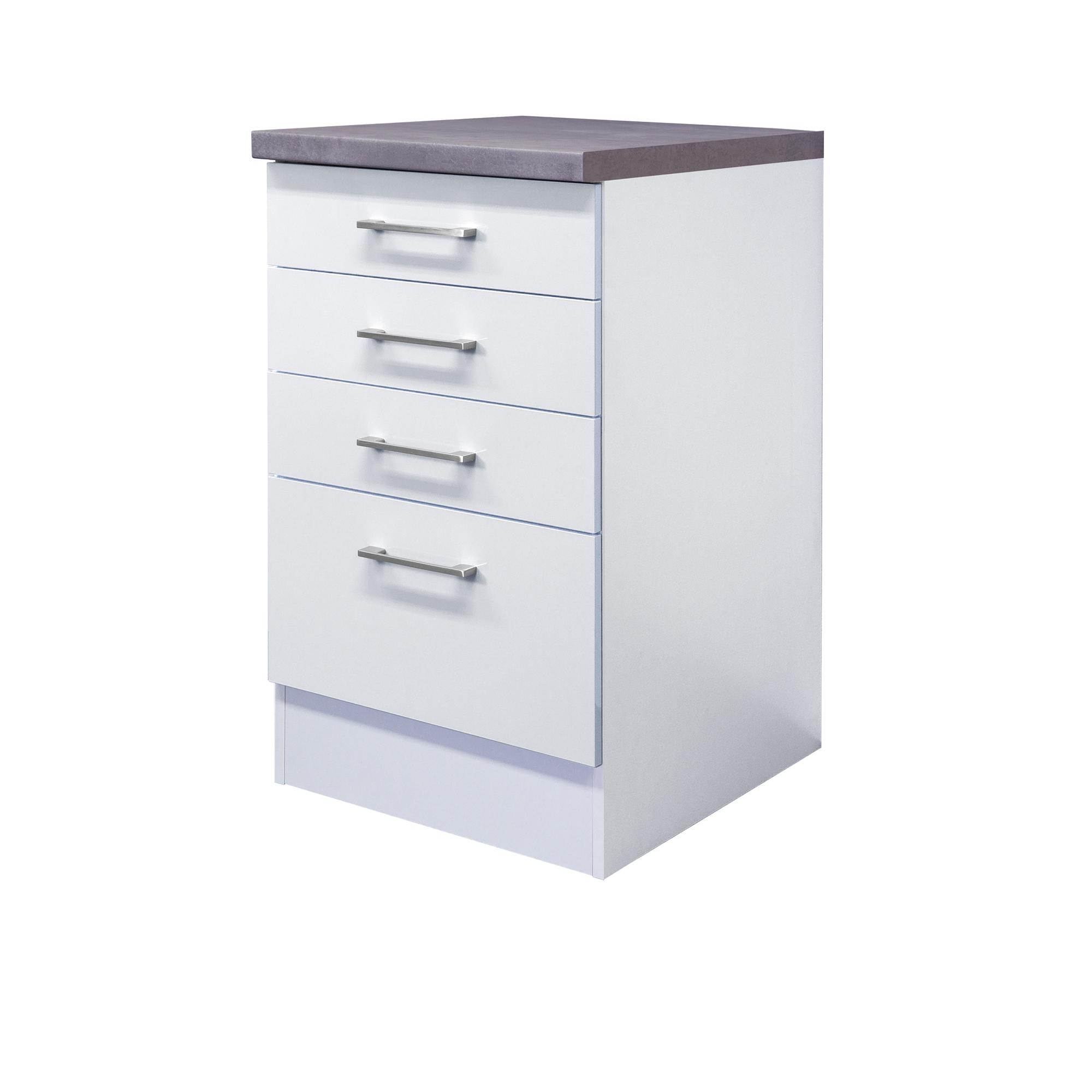 Details zu Küchen-Unterschrank CORVARA - 17 Auszug, 17 Schubladen - 17 cm  breit - Weiß