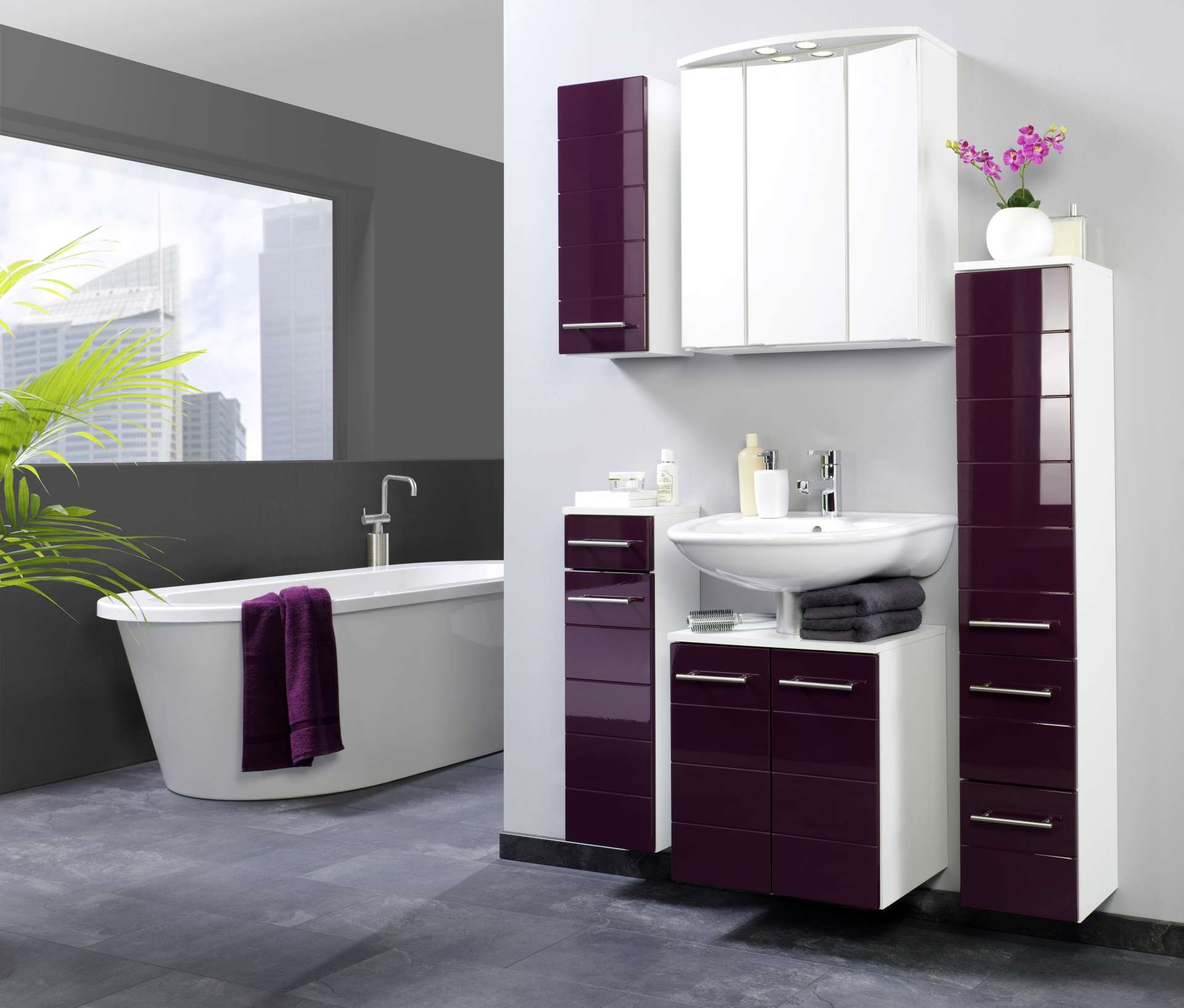 bad midischrank rimini 1 t rig 2 schublade 25 cm breit hochglanz aubergine bad bad. Black Bedroom Furniture Sets. Home Design Ideas