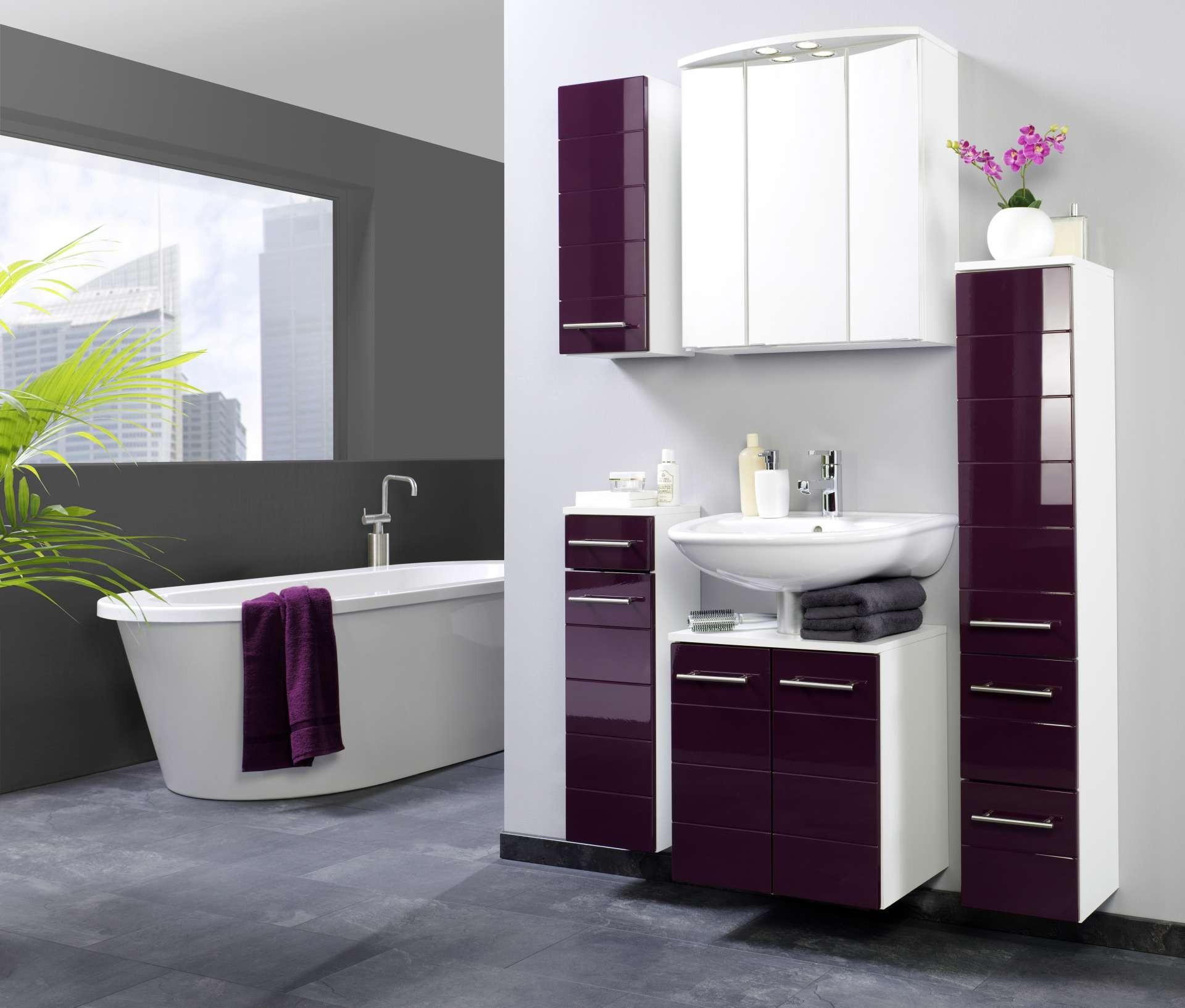 bad midischrank rimini 1 t rig 2 schublade 25 cm breit hochglanz aubergine bad bad. Black Bedroom Furniture Sets. Home Design Ideas