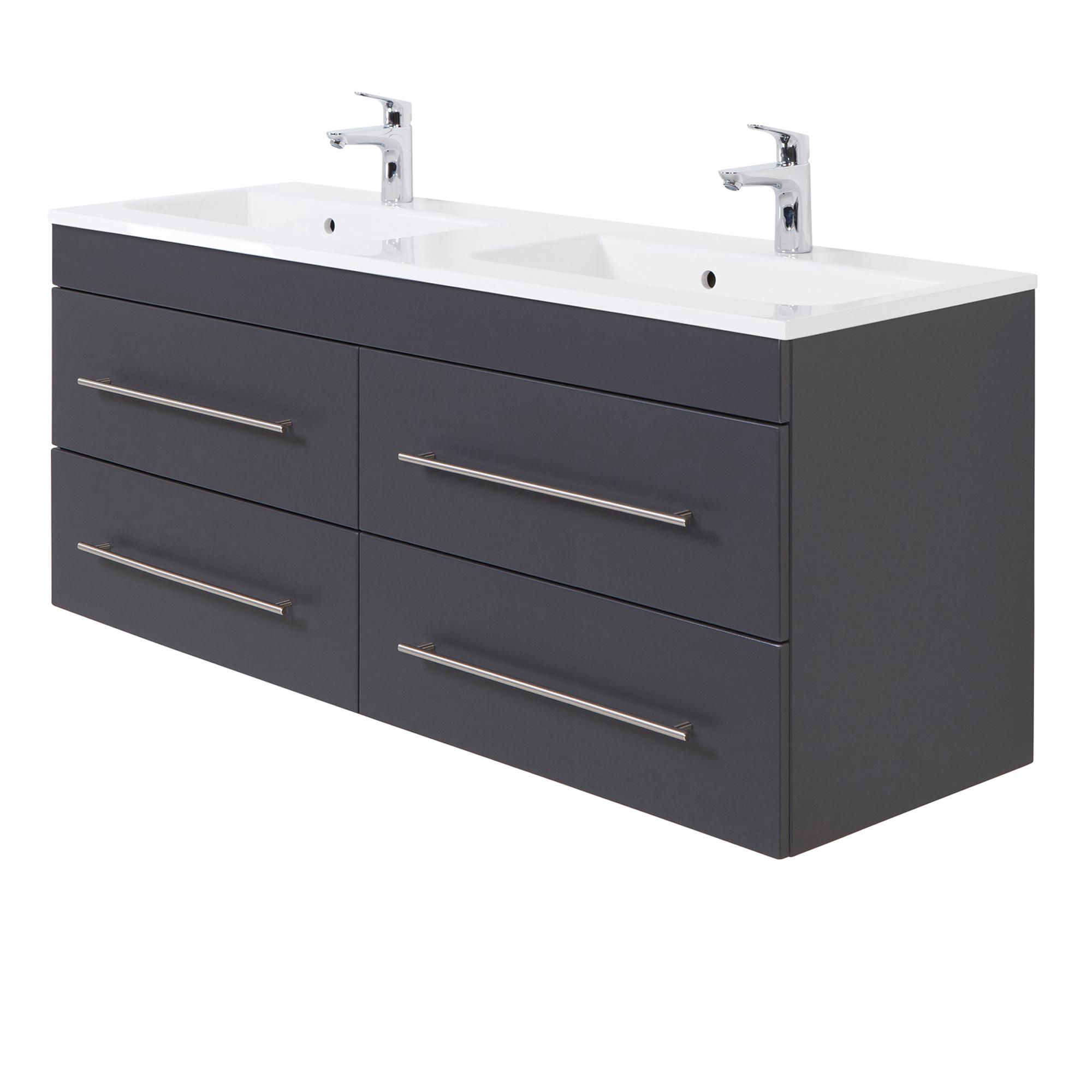 Details zu Bad-Waschtisch HOMELINE - 15 Auszüge - 1150 cm breit - Grau  glänzend