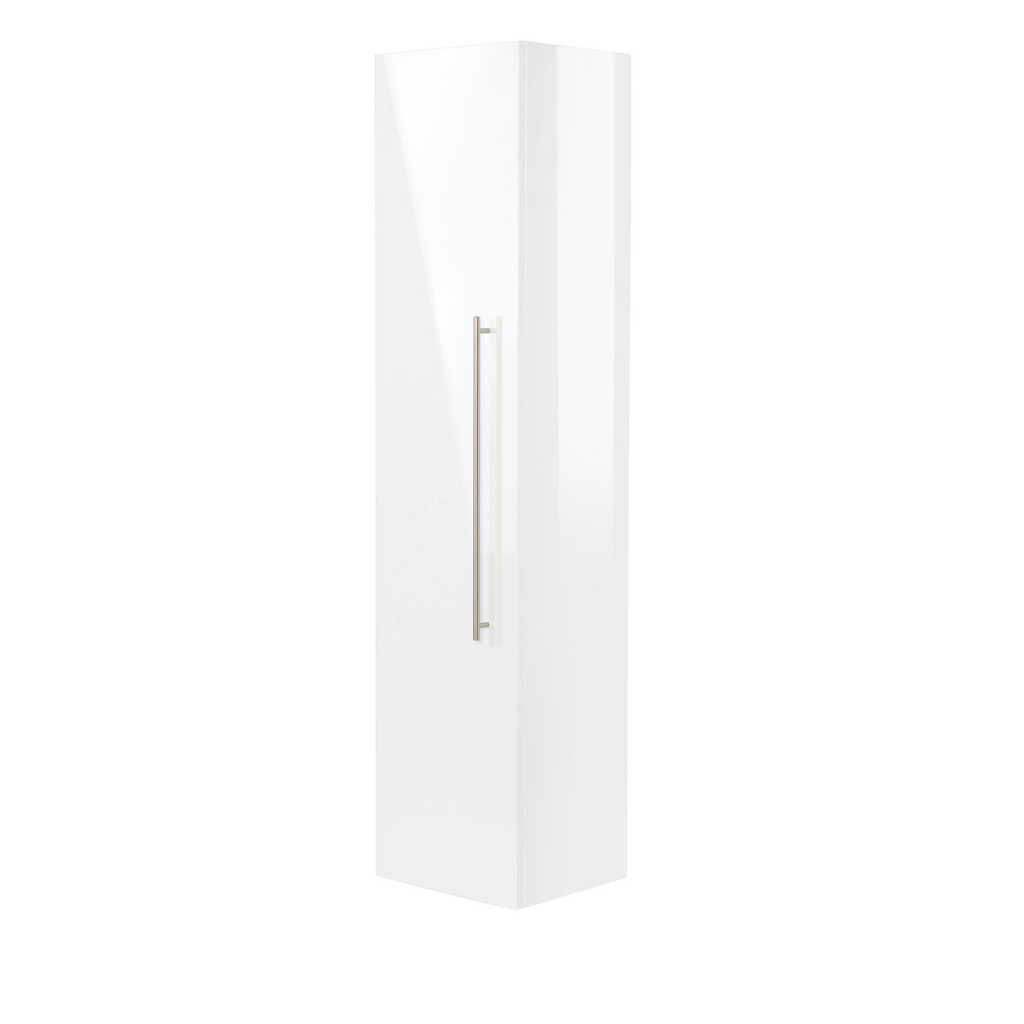 Details zu Bad-Hochschrank LEVIA - 11-türig - 11 cm breit - Hochglanz Weiß