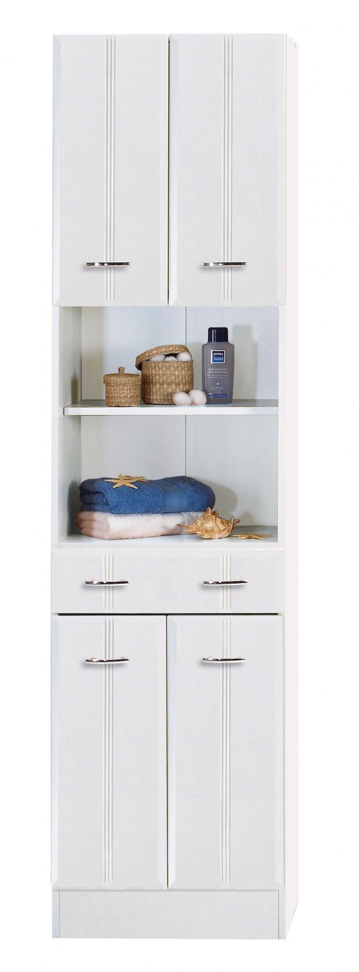 bad hochschrank arta 4 t rig 1 schublade 50 cm breit wei bad bad hochschr nke. Black Bedroom Furniture Sets. Home Design Ideas