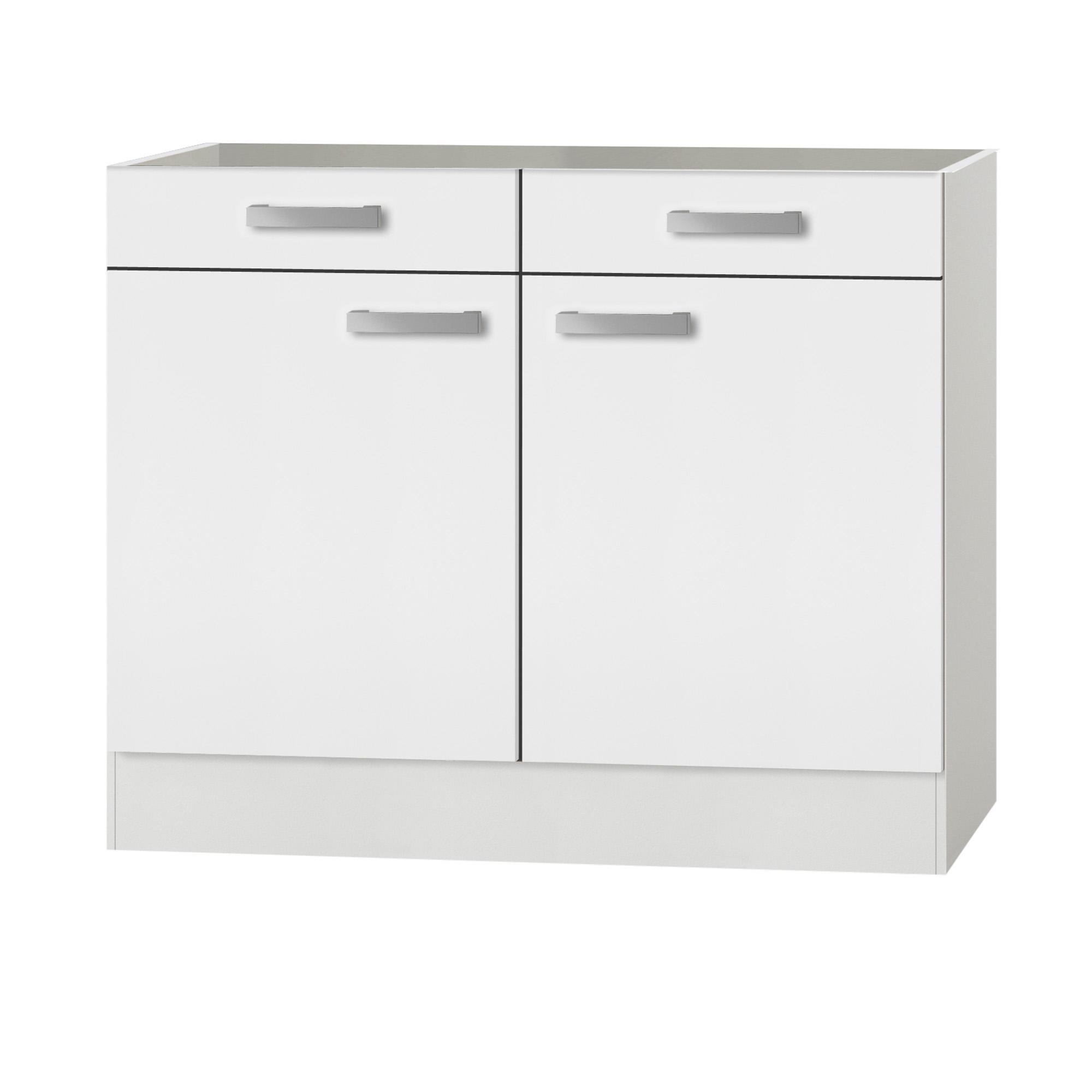 Küchen-Unterschrank BARCELONA ohne Arbeitsplatte - 10-türig - 10 cm breit -  Weiß