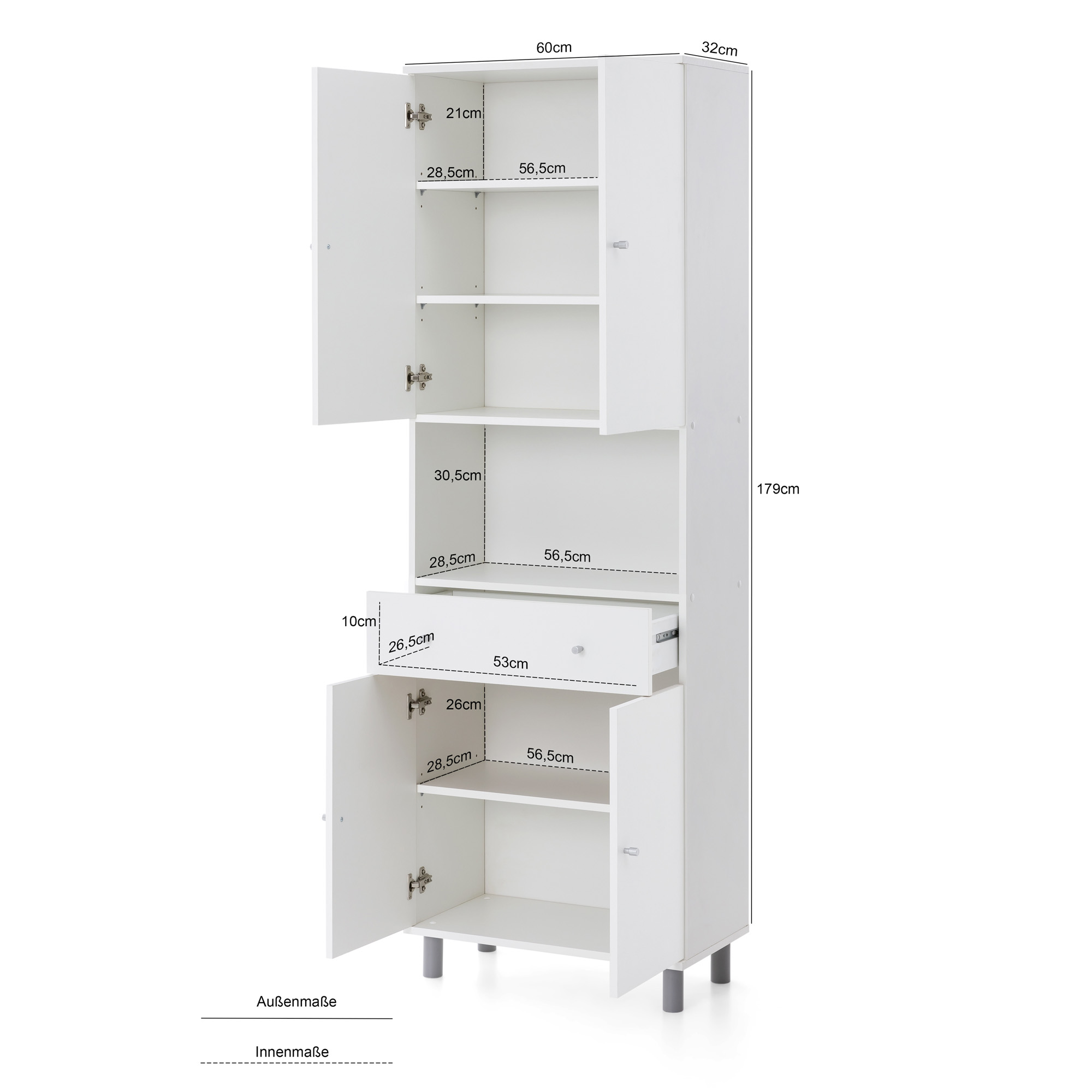 Bad-Hochschrank LINDAU - 8-türig, 8 Schublade - 8 cm breit - Weiß/ Eiche  Sonoma