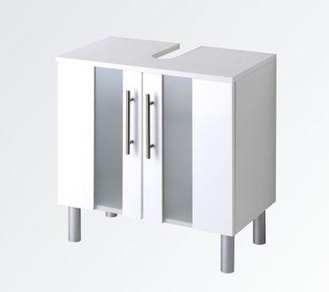 Bad-Waschbeckenunterschrank MIAMI - 2-türig - 60 cm breit - Hochglanz Weiß