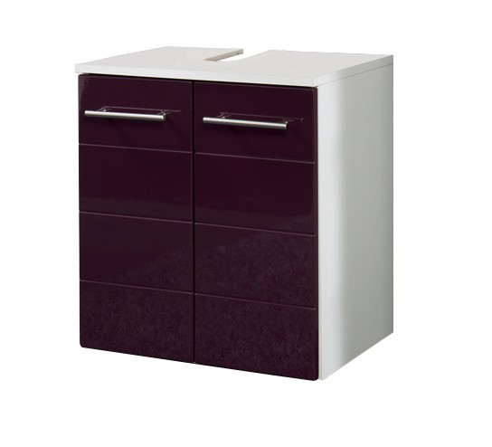 bad waschbeckenunterschrank rimini 2 t rig 50 cm breit hochglanz aubergine bad. Black Bedroom Furniture Sets. Home Design Ideas