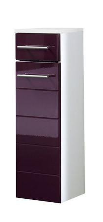 Bad-Unterschrank RIMINI - 1-türig, 1 Schublade - 25 cm breit - Hochglanz Aubergine