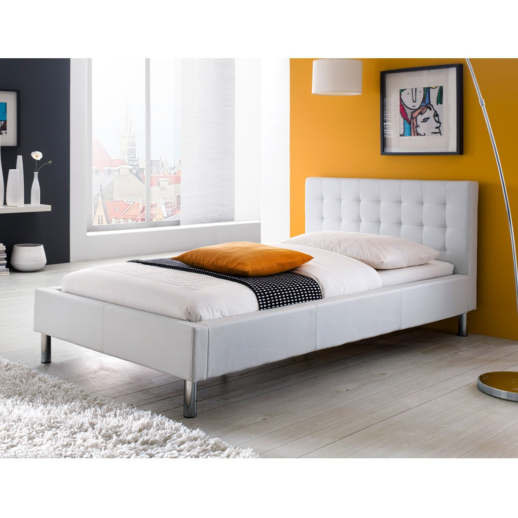 polsterbett 140x200 weiss kunst lederbett bett doppelbett jannes ebay. Black Bedroom Furniture Sets. Home Design Ideas