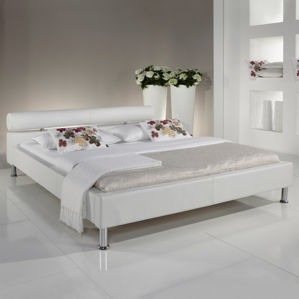 polsterbett 140x200 weiss kunst lederbett bett doppelbett andre ebay. Black Bedroom Furniture Sets. Home Design Ideas