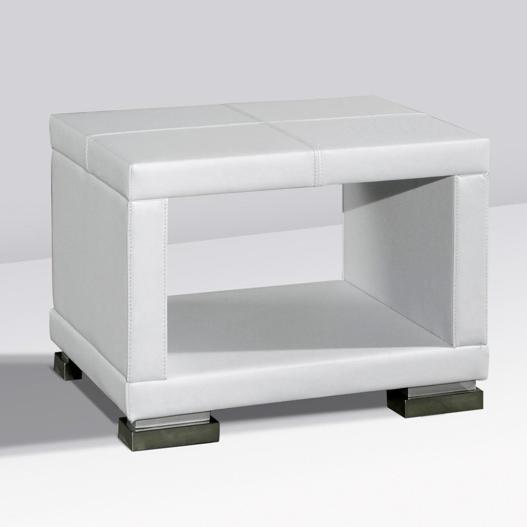 Nachttisch Kunst-Lederkommode Weiß Panja-Nako-2 – Bild 1