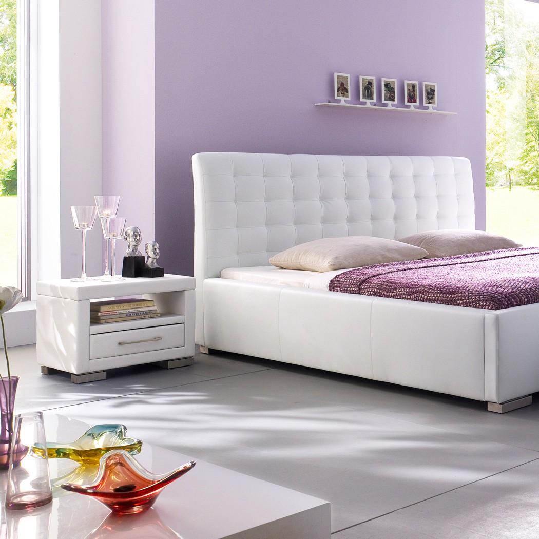 Nachttisch Kunst-Lederkommode Weiß Panja-Nako-1 mit Schubfach – Bild 4