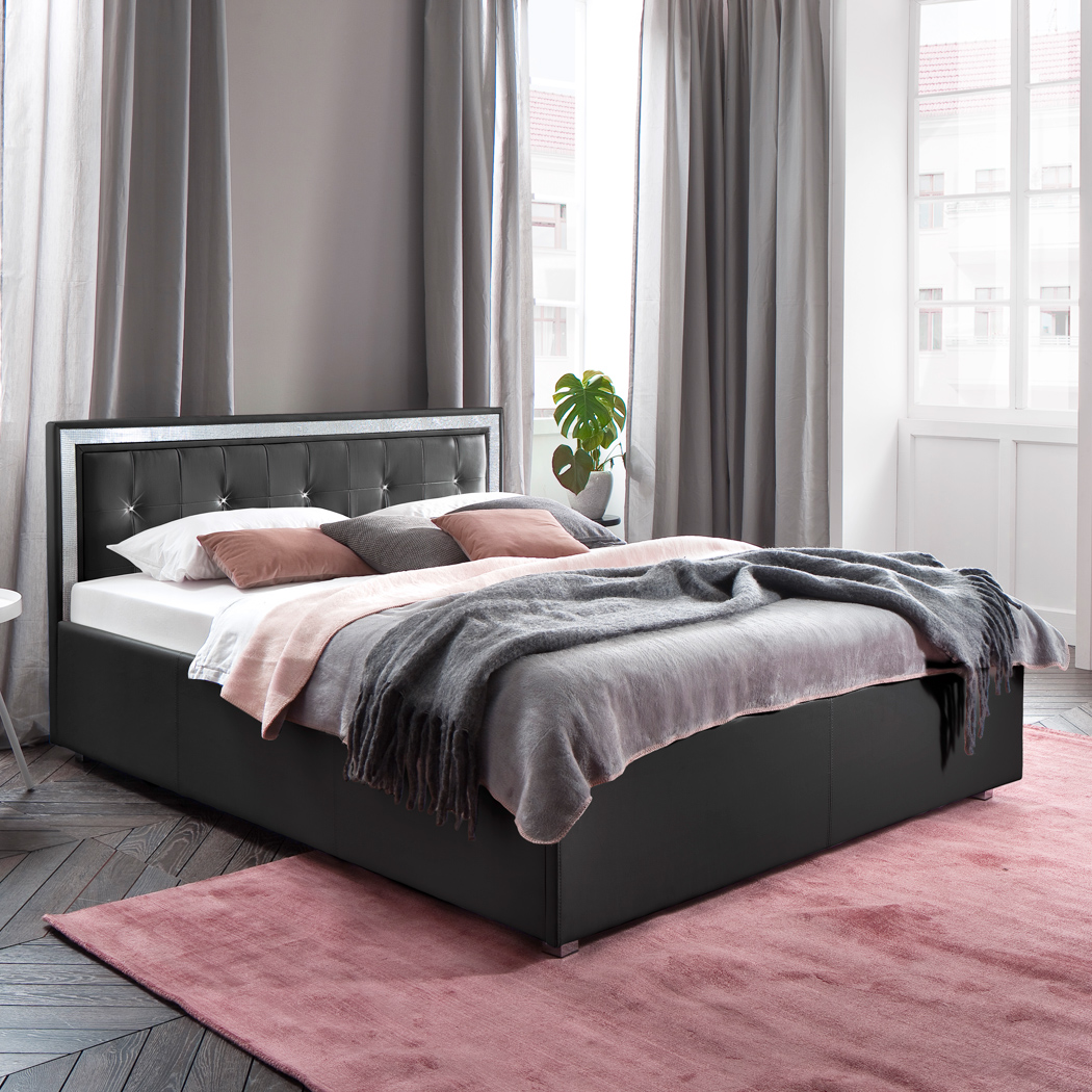polsterbett kunst lederbett schwarz 140x200 cm mainz 1 mit strasssteinen. Black Bedroom Furniture Sets. Home Design Ideas
