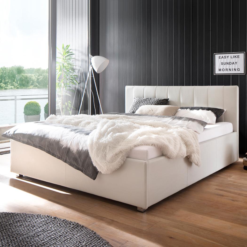 Polsterbett Kunst-Lederbett Weiß 160x200 cm Mainz-2 – Bild 1