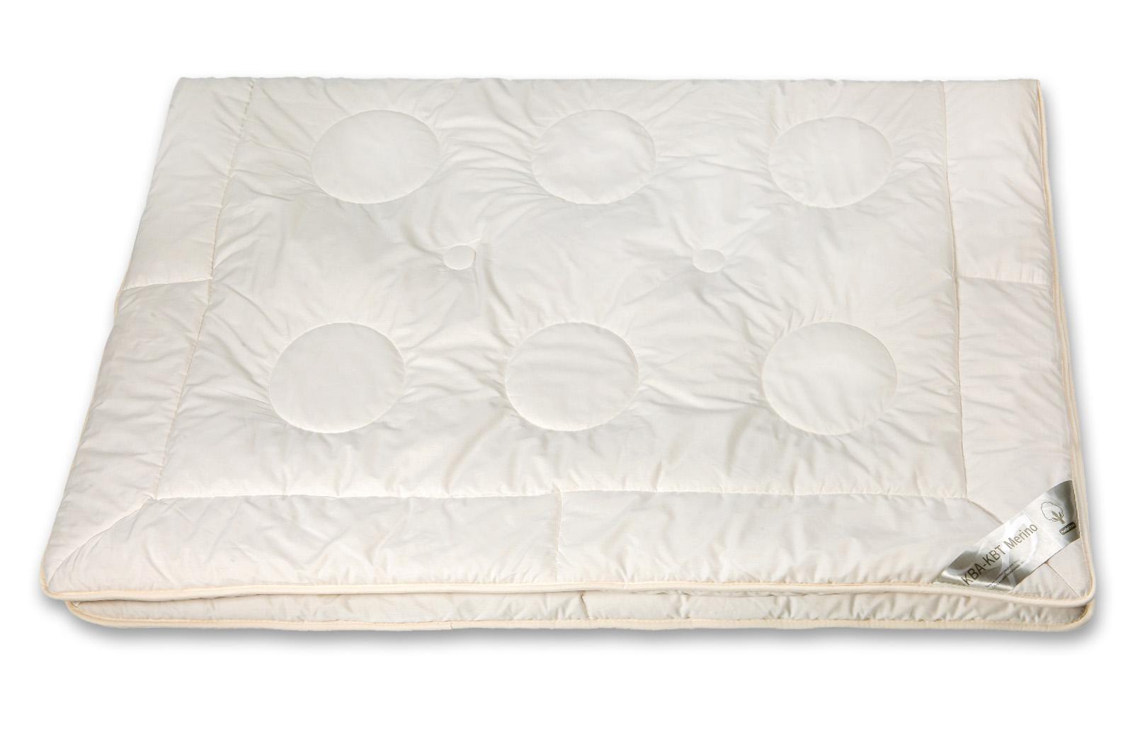 Bettdecke leichte Ganzjahres-Decke  KBT Merino Schurwolle + KBA Baumwolle BIO Natur Nadia – Bild 5