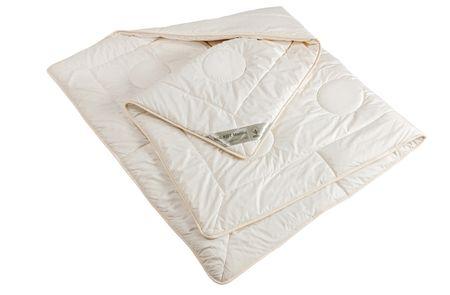 Bettdecke leichte Ganzjahres-Decke  KBT Merino Schurwolle + KBA Baumwolle BIO Natur Nadia