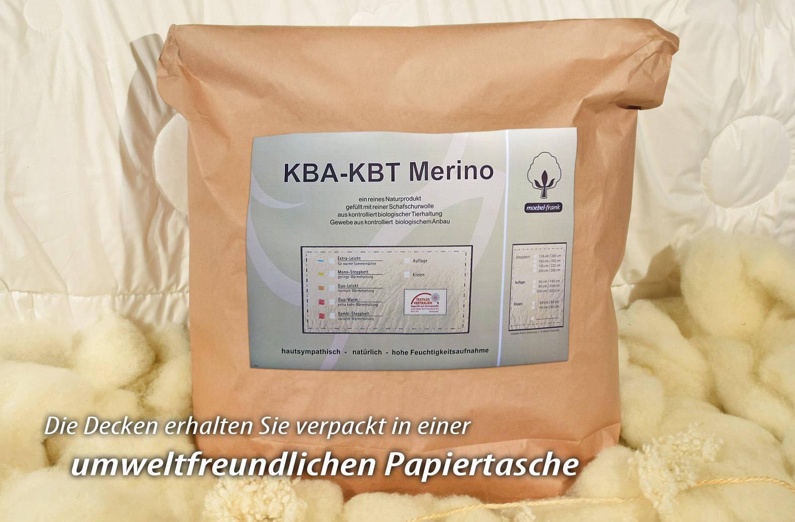 Bettdecke Ganzjahres-Decke  KBT Merino Schurwolle + KBA Baumwolle BIO Natur Nadia – Bild 6