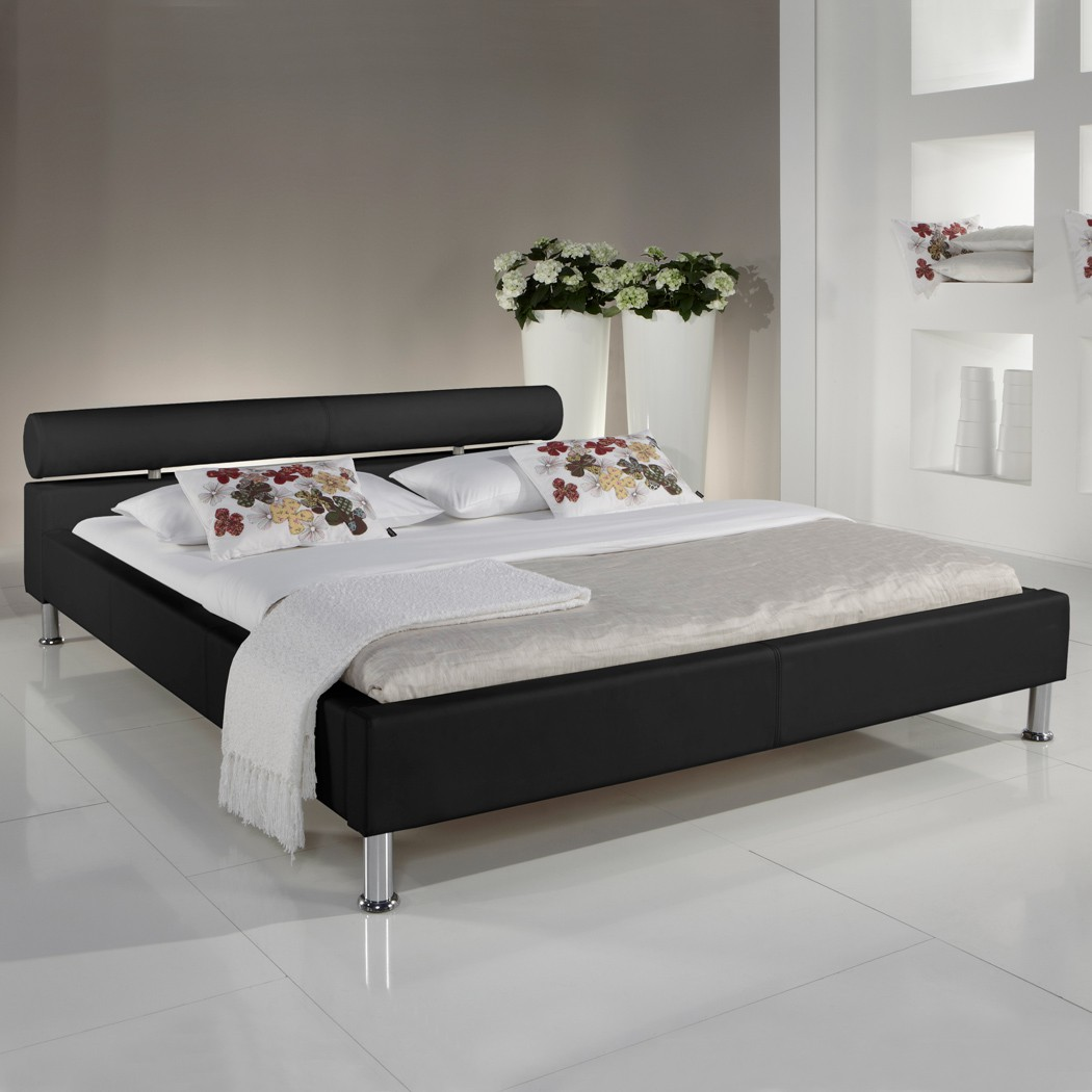 polsterbett kunst lederbett schwarz 120x200 cm doppelbett. Black Bedroom Furniture Sets. Home Design Ideas