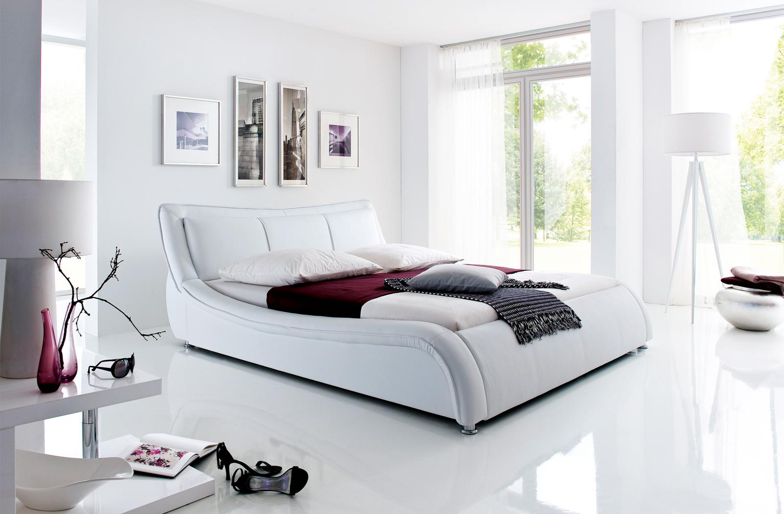 Polsterbett Kunst-Lederbett Weiß Silas – Bild 6
