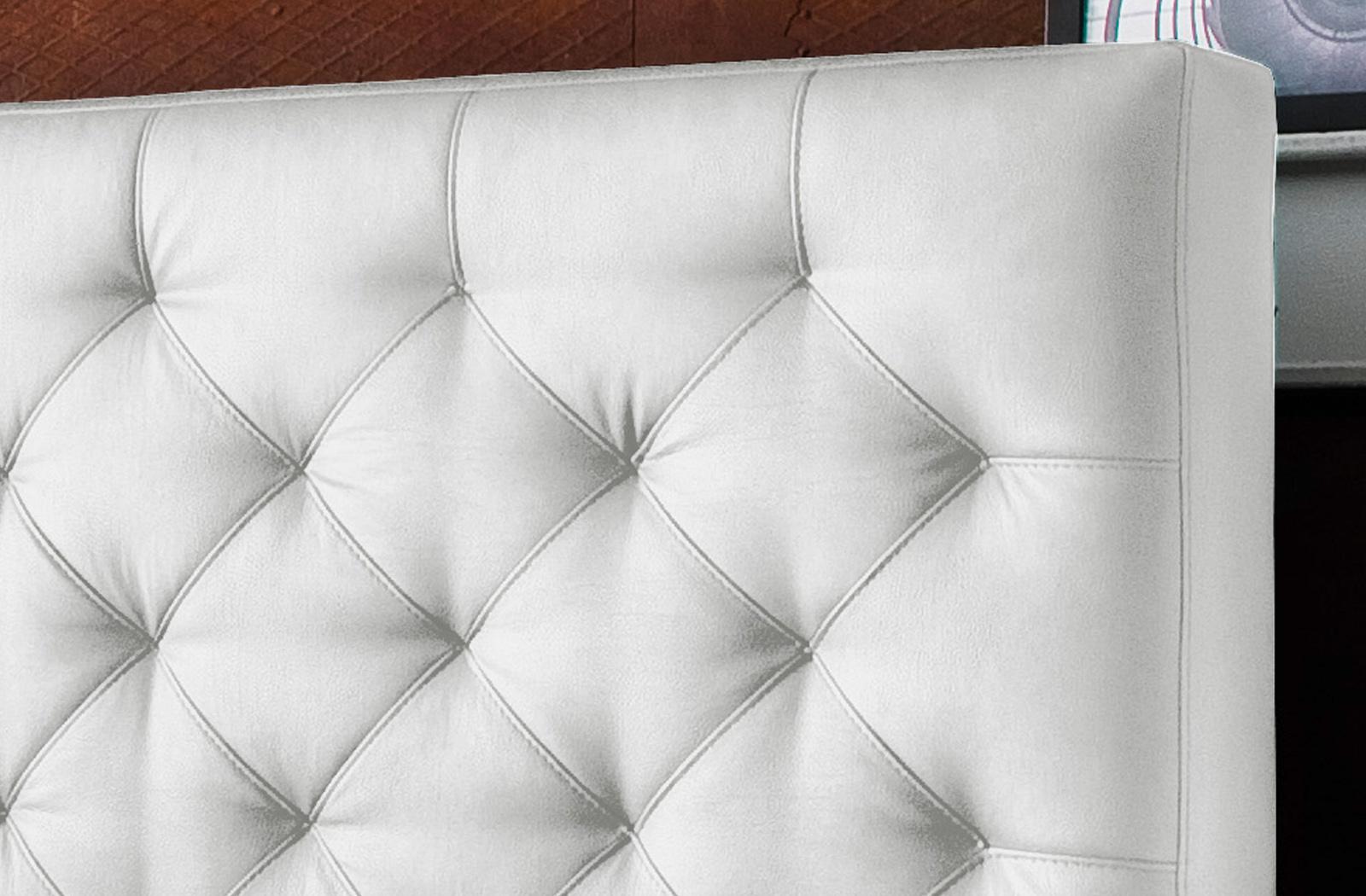 Polsterbett Kunst-Lederbett Weiß Salomon – Bild 3