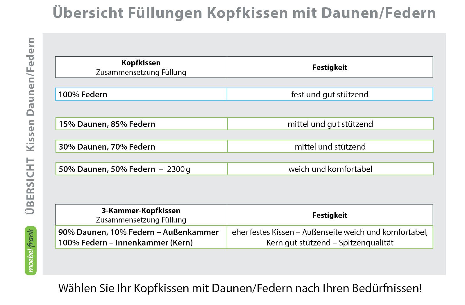 3-Kammer Kopfkissen Premium Kissen Daunen Federn Klasse 1 40x80 Carla – Bild 3
