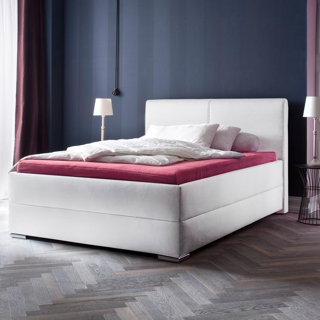 Polsterbett Kunst-Lederbett Weiß Bett Maggie – Bild 2