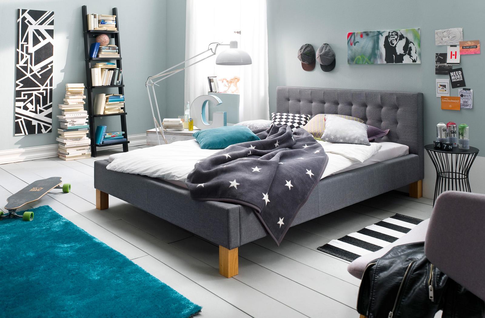 Polsterbett Futonbett Doppelbett Bettgestell Bett 140x200 cm Grau Yente – Bild 6