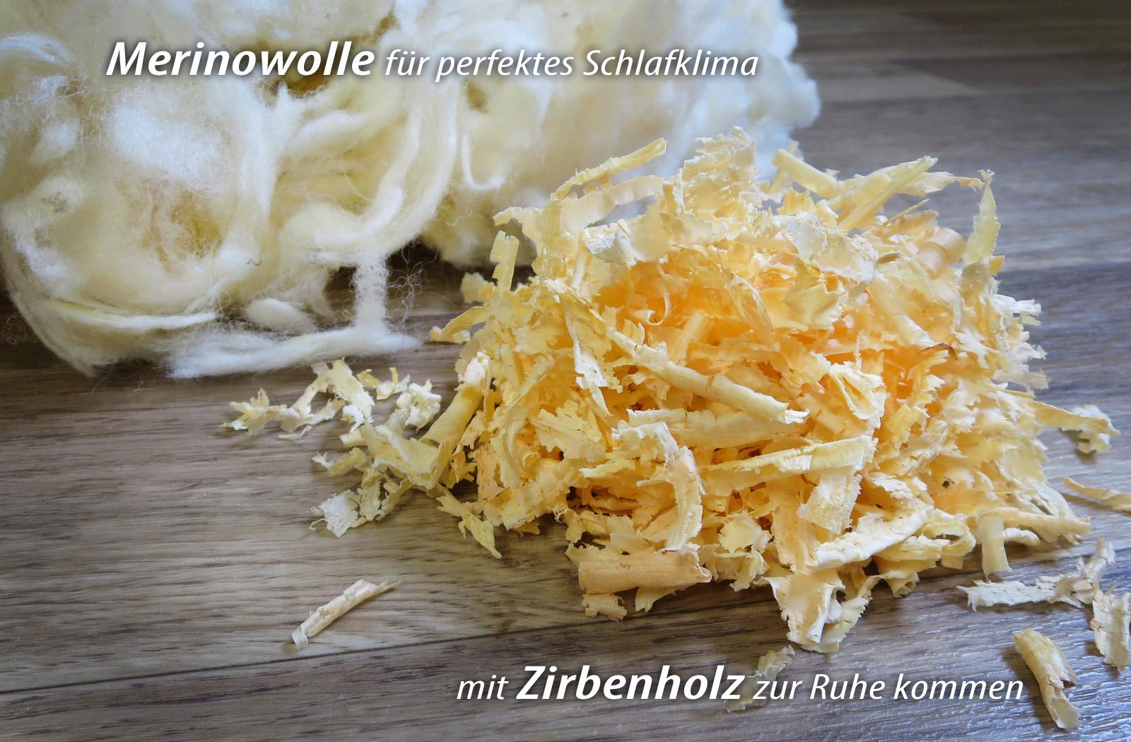 Kopfkissen mit Zirbenholz KBT Merino Schafschurwolle Kissen BIO KBA Baumwolle Zirbe – Bild 4